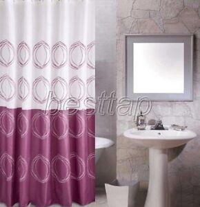 +12 Hook Purple Geometric Circle Pattern Bathroom Fabric Shower Curtain ss819