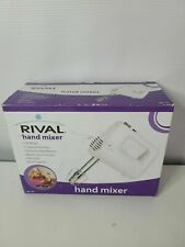 Rival 150 Watts 5 Speed White Chrome Plated Beaters Hand Mixer New