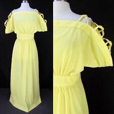 Vintage 70s OOAK Yellow Cage Top Loop Grecian Maxi Dress M Cold Shoulder Boho
