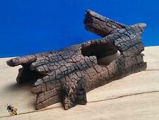 Aquarium Ornament Half Log Tree Bark Cave Hide Decoration Fish Tank 3 Sizes