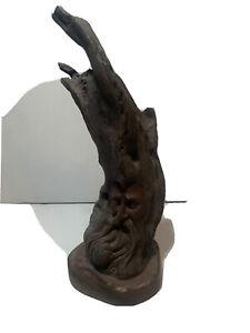 "Rare - 13.5"" - Rick Cain - Old Man Wizard - Tree Sculpture Statue - Resin READ"