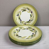 Set 4 Bizzirri Dinner Plates Dinnerware Olive Green Hand Painted Made in Italy