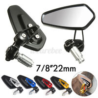 Pair Motorcycle Universal 7/8'' Handle Bar End Rearview Side Mirrors Aluminum US