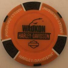 WAUKON, IA  HARLEY DAVIDSON POKER CHIP (ORANGE & BLACK) IOWA