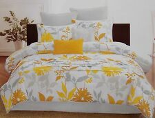 8 Pc Floral Nature Comforter Bed Set ~ NEW King Yellow Gray Gold White