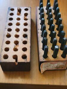 "Antique Vintage 1/8"" Millers Falls Letters Steel Die Punch Stamps & Wood Box"