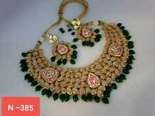 Gold Plated Choker Bollywood Indian Kundan Ethnic Green Necklace Earrings Set