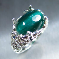 8.5ct Natural Cats eye Apatite blue green 925 silver 14k 18k Gold Platinum ring