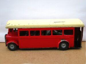 Triang Minic 52M Tinplate Friction Single Decker Bus - Red / Cream