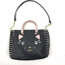 Luv Betsey Hand Shoulder Bag Jewel Cat Face Black White Striped Lucie Crossbody