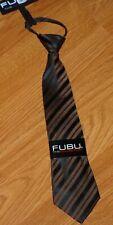 *Fubu Boy'S Necktie Adjustable 100% Silk Hand Made Brown Stripe Nwt