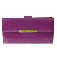 Authentic GUCCI GG Pattern Long Bifold Wallet Purse Leather Purple Italy 03MC790