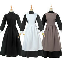 Women Pioneer Costume Floral Prairie Dress Cotton Deluxe Colonial Maid Dress