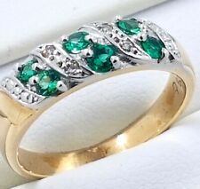 9k synthetic Emerald and Diamond RING_375 gold