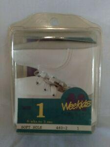 Vintage Wee Kids Soft Soles Sz 1 (6 weeks to 3 Mos.) Baby Shoes Gently Worn