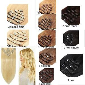 🌟🌟EXTENSION DE CHEVEUX A CLIPS 100g 100% NATUREL REMY HAIR 45-55CM 7BANDES🌟🌟