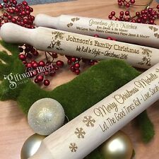 Personalised Christmas Wooden Rolling Pin Engraved Gift Present Mum Kitchen Wood