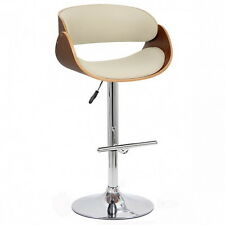 Walnut Effect Wood Curved Padded Bar Stool with White Leather Effect Seat-BST02W