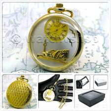 "Gold Sydney Opera House Pocket Watch Brass Case Quartz Gift 14"" Fob Chain P33"