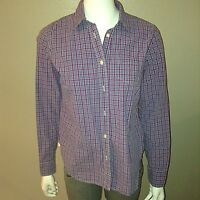 American Eagle Button Down Favorite Shirt Size 10 Womens Purple Plaid Top Cotton