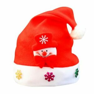 Unisex Fabric Father Christmas Hat Santa Family Gift For Adult Child Kid Baby