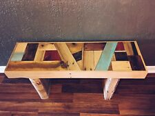 Handcrafted Wooden Reclaimed Pallet Wood Bench Seat - Modern Abstract Design