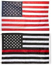 3x5 USA American Flag and USA Red Line Flag EMBROIDERED 210D Premium Flag Set