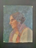 Beau portrait années 1940 - 1950 tableau portrait femme huile sur toile
