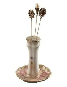 Victorian Trading Co Floral Garden of Roses Porcelain Hatpin Holder 25B