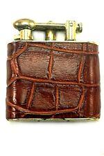LARGE GOLD VINTAGE CLARK CIGARETTE LIGHTER REAL BROWN ALLIGATOR LEATHER SKIN