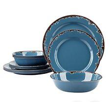 Melamine Dinner Dishes Set - Yinshine 12 PCS Dinnerware Service for 4, Blue, Not