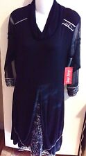 Tango Mango  Black & White Layered Dress- Sheer Sleeves  Size M-NWT-