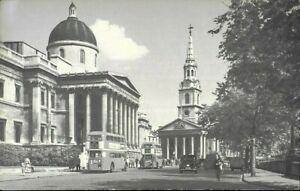 John Hinde Photo Postcard National Gallery London Buses People