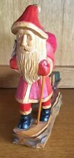 Wooden Carved Santa Pulling Sled With Gifts