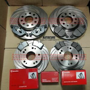 FOR SEAT LEON FR 2.0 TDI FRONT & REAR GROOVED BRAKE DISCS & BREMBO PADS
