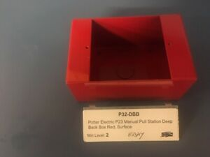"Potter Electric P23 Manual Pull Station Deep Back Box - ""RED"" Surface"