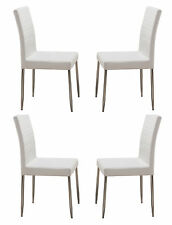 Kings Brand Furniture Parson Chairs with Chrome Legs Set of 4 White