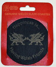 "Welsh Slate Coaster ""Happiness is""..design with Welsh Dragons, WALES/CYMRU,"
