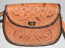 Vintage Mexican Hand TooledBrown Floral Leather Shoulder Bag with Turnkey Clasp