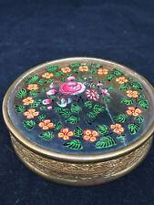 Boîte Charles X Fixé sous verre Fleurs Début XIX Antique Box French