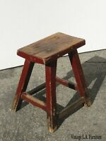 Vintage French Country Farmhouse Rustic Red Stool