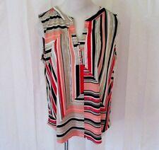 Dana Buchman Womens Shirt Top XL Sleeveless Hi Low Striped Button Front Nice