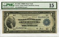 1918 $1 Fr.712 PMG CF-15 FRBN New York Antique Graded Large Size U.S. Note #8014