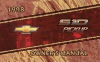 1998 Chevrolet S-10 Pickup Truck Owners Manual User Guide Reference Operator