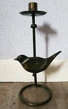 Shabby Chic Gold And Black Colour Metal And Wood Bird Candlestick Holder 11""