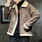 Winter Men's Sueded Jacket Loose Fit Motorcycle Outwear Fleece Lined Warm Casual