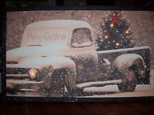 Merry Christmas Pick up Truck  Radiance Battery Operated Lighted Canvas Print