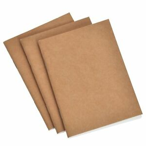 Journal Refills Pad Lined, Blank, Squared Paper Set of 3 Inserts 9 x 12.5cm