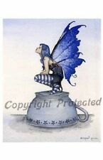 Amy Brown Print Fairy Kitchen Helper Tea Cup Faery Blue Black Wings Retired New