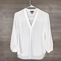 Vince Camuto Women's Size XXS Popover Blouse Top White V-Neck
